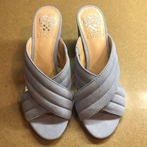 Baby blue suede heels